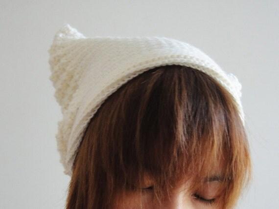 Cat Ear Beanie in Cream White Crochet Hat Women Hat Cat