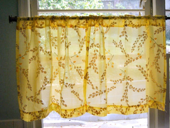 vintage yellow kitchen curtains floral by missmagnoliavintage