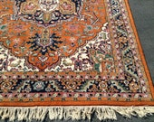 1960's Orange Heriz Persian Oriental Rug