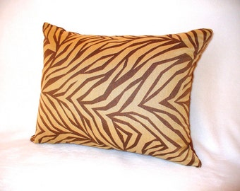 "Pillow with 14"" x 18"" Insert Brown on Caramel Zebra Print  Accent Decorative"