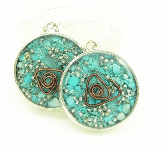 Orgone Energy Earrings - Positive Energy Generator - Dangle Earrings - Turquoise Gemstone - Artisan Jewelry