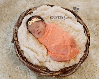 Coral Cheesecloth Wrap and Headband Set...Baby Bows...Petite Roses Headband...Baby Girl Headband...Photography Prop
