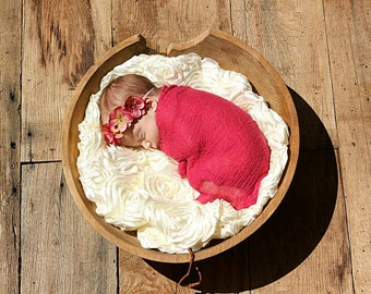 Raspberry Cheesecloth Baby Wrap...Cheesecloth Wrap...Photography Prop...Baby Bows...Baby Girl Headband