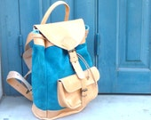 Gray Suede leather Backpack large one pocket /Women-Men leather backpack - Customizable size and color
