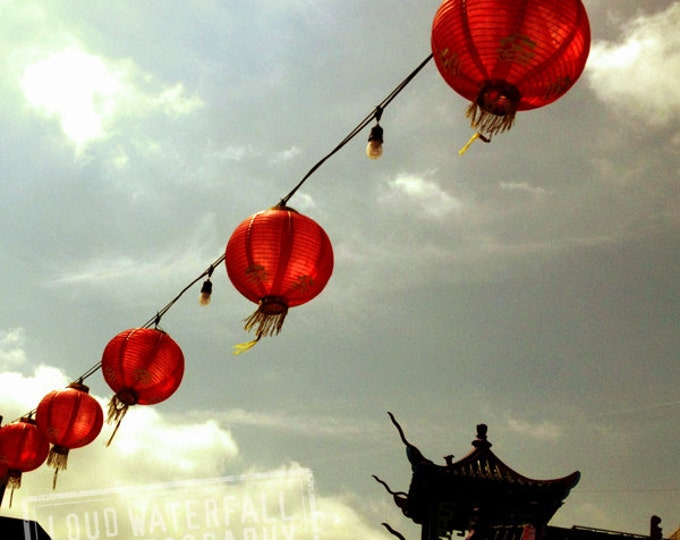 Chinatown Red Lanterns, Paper Lanterns on Wire, Downtown Los Angeles 8x8 10x10 12x12 20x20 Fine Art Travel Photograph