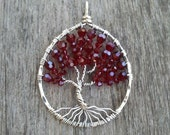 Swarovski Siam Crystals and Sterling Silver Tree of Life Pendant - READY TO SHIP