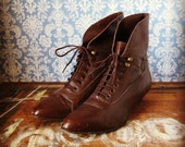 Brown Leather Fold Over Ankle Boots size 8
