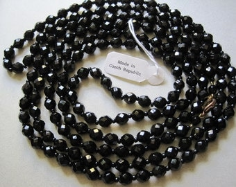 "1920's Style Long Black Glass Necklace Beads Flapper Czech Glass Beads 60"" Goth jewelry Gatsby MoonlightMartini"