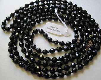 "1920's Style Long Black Glass Necklace Beads Flapper Czech Glass Beads 60"" Goth jewelry Downtown Abbey Gatsby"
