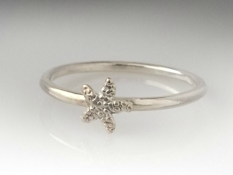 sterling silver starfish ring dainty stacking ring starfish