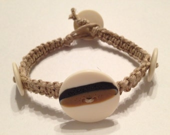Natural Hemp Button Bracelet