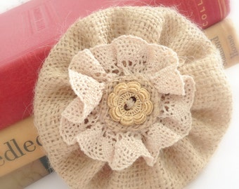 "Burlap Hair Flower - Rustic Burlap Hair Bow - Natural Burlap Hair Accessory - Fashion Pin - Farmhouse Style Hair Piece 4""  ( Clip Included )"