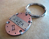 Handmade Unique Pet Id Tag - Handstamped Copper and Nickel Silver - Oval - Small Breed Dog - Cat Tag - Wire Wrap - Aluminum Backer
