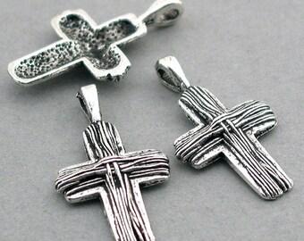 Cross Charms Antique Silver tone 6pcs base metal Beads 17X30mm CM0343S