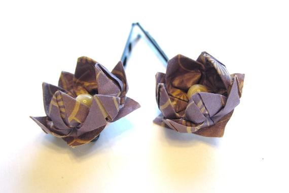 Set of 2 Purple Flower Hairpins - Origami Lotus Hair Accessories
