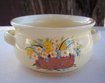 NCE 1986 Bowl with Two Handles in French Vanilla with Basket of Flowers