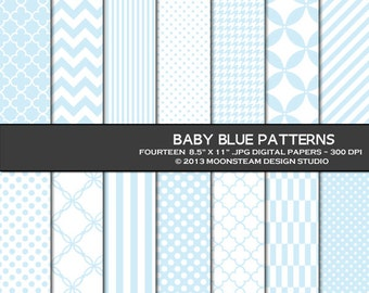 Baby blue digital paper, baby blue digital paper pack, chevron, stripes, polka dots, digital backgrounds 8.5x11 or 12x12 or A4