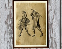Medieval knights print Antiqued paper Vintage art Old looking Antique style AK119