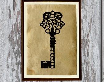 Antique key print Old looking Antiqued decoration AK218