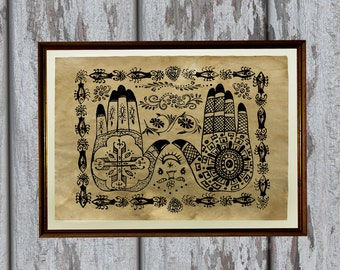 Native American print Antiqued paper Vintage art Old looking Antique style AK268