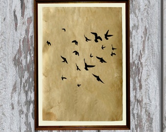 Flying birds decor Animal art Antique print 8.3 x 11.7 inches AK63