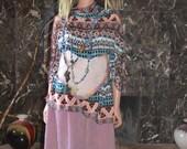 rayon challis ikat print blouse