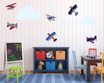 Childrens vinyl wall decal -  Vintage AirPlanes -  set of 6 and 4 clouds