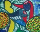 "Outsider Art  LOVE BIRDS by Toussaint St.Pierre  The ""Haitian Matisse"""