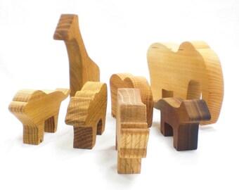 Wooden Toy Set, Zoo Animals Set, Kids Wooden Toys, elephant, giraffe, rhino, tiger, lion, bear