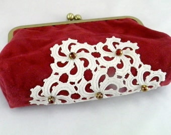 Unique clutches: faux suede dressy clutch with vintage doily, red clutches, cute clutches, toiletry bag