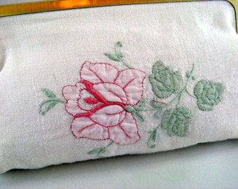 Cute clutch purse: Dressy clutch made from hand embroidered napkin and green satin