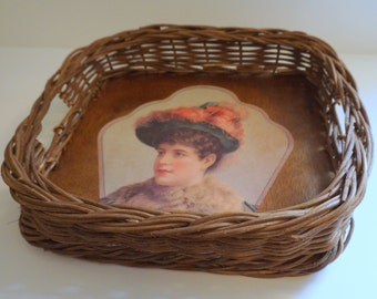 Large Wooden Serving Tray with Basket Edges and Handle - Floyd Jones Vintage