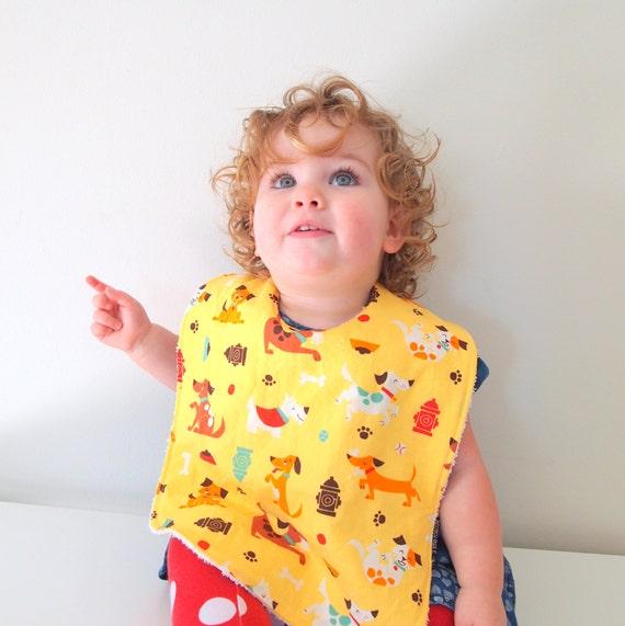 puppy toddler bib baby yellow terry cloth cotton metal snap