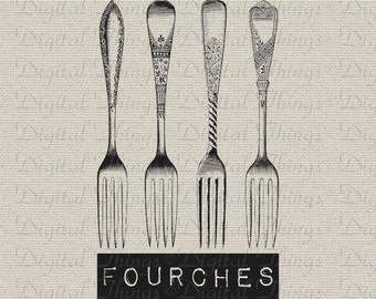 Forks French Words Silverware Cutlery Kitchen Decor Art Printable Digital Download for Iron on Transfer Fabric Pillows Tea Towels DT1445