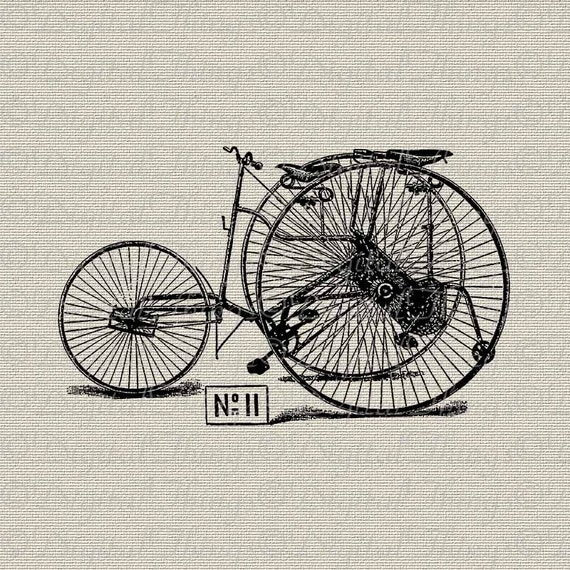 Vintage Bicycle French Bicycle Tricycle Bike Wall Decor Art Printable Digital Download for Iron on Transfer  Tea Towel Fabric Pillows DT390