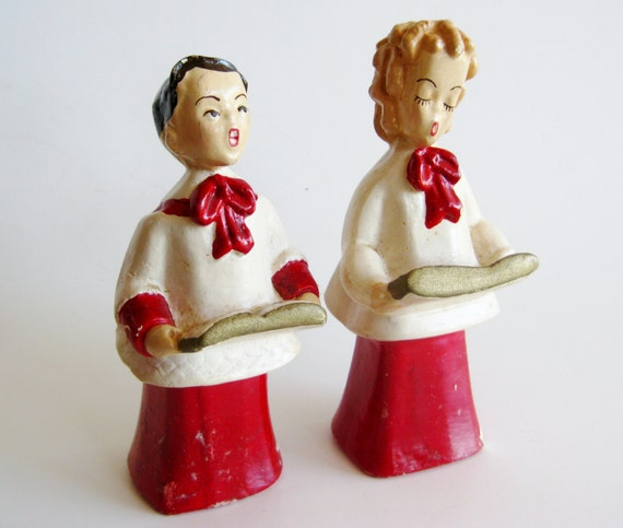 Joy And Noel Holiday Caroler: Vintage 50s Chalkware Christmas Carolers Choir By