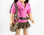 American Girl Doll Leopard Print Skirt , Cowl neck Shirt, fabulous wallet and purse