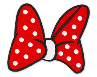 Instant Download -  Minnie red bow 105- Filled Stitches - Machine Embroidery Design