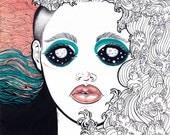 """I am the Ocean - 18"""" x 22"""" Signed, Color Digital Print of Original Maritza Torres Painting"""