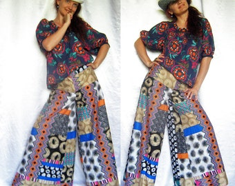 Custom order Pants  Culottes Divided skirt Boho  Mexican style Hippie Colorful Wide Lags Multicolor Pants