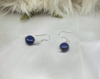 Blue Lapis Lazuli Earrings Puffed Coin Lapis Earrings 925 Sterling Silver Lapis Earrings or 14k Gold Filled Lapis Earrings BuyAny3+Get1 Free