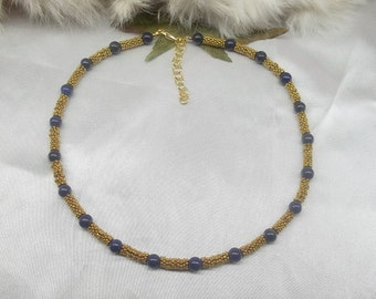 Gold Lapis Necklace Blue Lapis Lazuli Strand Jackie Kennedy Inspired Adjustable Antiqued 22k Gold Plate BuyAny3&Get1 Free