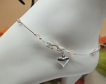 Girls Pink Anklet Girls Crystal Anklet Girls Heart Anklet Girls Ankle Bracelet 100% 925 Sterling Silver or Plate BuyAny3+Get1 Free
