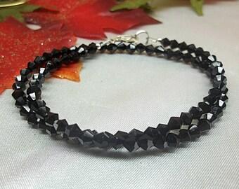 Jet Black Anklet Double Anklet Crystal Anklet Wrap Anklet Black Double Strand Anklet 100% 925 Sterling Silver Anklet BuyAny3+Get1 Free