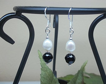 Black Onyx Earrings White Pearl Earrings Dangle Earrings 14k Gold Filled 1/20 or 925 Sterling Silver Lever Back Earrings, BuyAny3+Get1Free