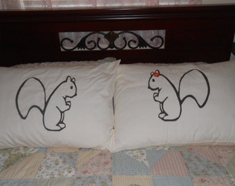 Pair of Squirrels, His and Hers, Standard, Couples Pillowcases, Bedroom Decor