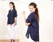 polka dot blouse shirt // vintage 80s // navy and white // short sleeved // oversized asymmetrical slouchy boxy // small medium large