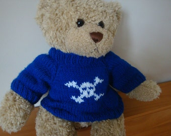 Teddy Bear Sweater - Hand knitted - Royal Blue with Skull and Crossbones