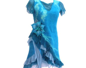 SALE 10%!!!! Handmade Nuno felted dress, silk and wool ,prom dress, blue felted dress, spring fashion, mermaid dress, mini dress, OOAK,