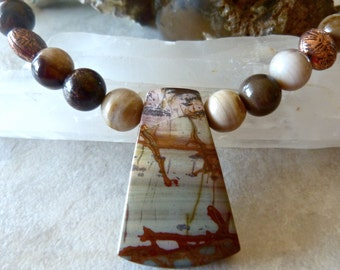 Cripple Creek Jasper Wood Opalite Pendant Necklace - Earthy Large Stone Artisan Necklace